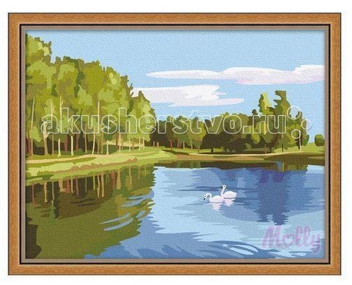 Molly Картина по номерам Лесное озеро 30х40 смКартина по номерам Лесное озеро 30х40 смКартина по номерам Molly Лесное озеро - оригинальный набор, позволяющий создать картину, благодаря поэтапной раскраске полотна.   В наборе:    холст из натурального хлопка на деревянном подрамнике (холст предварительно прогрунтован);  нейлоновые кисти разного размера 3 шт.;  акриловые краски (устойчивые к выцветанию);  крепление на стену;  акриловый лак (2 баночки).   Размер: 30 х 40 см Количество цветов: 21 Уровень сложности: трудный  Защитить готовую картину от воздействия ультрафиолетовых лучей и влаги поможет акриловый лак в наборе. Перед использованием его необходимо разбавить водой в соотношении 1:1. Лак следует наносить на краску в качестве финишного покрытия.<br>
