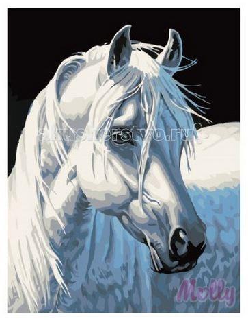 Molly Картина по номерам Белая лошадь 30х40 смКартина по номерам Белая лошадь 30х40 смКартина по номерам Molly Белая лошадь - оригинальный набор, позволяющий создать картину, благодаря поэтапной раскраске полотна.   В наборе:    холст из натурального хлопка на деревянном подрамнике (холст предварительно прогрунтован);  нейлоновые кисти разного размера 3 шт.;  акриловые краски (устойчивые к выцветанию);  крепление на стену;  акриловый лак (2 баночки).   Размер: 30 х 40 см Количество цветов: 14 Уровень сложности: средний  Защитить готовую картину от воздействия ультрафиолетовых лучей и влаги поможет акриловый лак в наборе. Перед использованием его необходимо разбавить водой в соотношении 1:1. Лак следует наносить на краску в качестве финишного покрытия.<br>