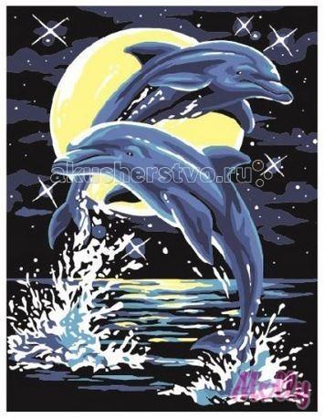 Molly Картина по номерам Лунные дельфины 30х40 смКартина по номерам Лунные дельфины 30х40 смКартина по номерам Molly Лунные дельфины - оригинальный набор, позволяющий создать картину, благодаря поэтапной раскраске полотна.   В наборе:    холст из натурального хлопка на деревянном подрамнике (холст предварительно прогрунтован);  нейлоновые кисти разного размера 3 шт.;  акриловые краски (устойчивые к выцветанию);  крепление на стену;  акриловый лак (2 баночки).   Размер: 30 х 40 см Количество цветов: 9 Уровень сложности: средний  Защитить готовую картину от воздействия ультрафиолетовых лучей и влаги поможет акриловый лак в наборе. Перед использованием его необходимо разбавить водой в соотношении 1:1. Лак следует наносить на краску в качестве финишного покрытия.<br>