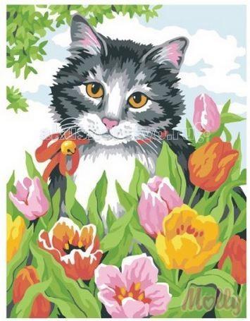 Molly Картина по номерам Котёнок в тюльпанах 30х40 смКартина по номерам Котёнок в тюльпанах 30х40 смКартина по номерам Molly Котёнок в тюльпанах - оригинальный набор, позволяющий создать картину, благодаря поэтапной раскраске полотна.   В наборе:    холст из натурального хлопка на деревянном подрамнике (холст предварительно прогрунтован);  нейлоновые кисти разного размера 3 шт.;  акриловые краски (устойчивые к выцветанию);  крепление на стену;  акриловый лак (2 баночки).   Размер: 30 х 40 см Количество цветов: 18 Уровень сложности: трудный  Защитить готовую картину от воздействия ультрафиолетовых лучей и влаги поможет акриловый лак в наборе. Перед использованием его необходимо разбавить водой в соотношении 1:1. Лак следует наносить на краску в качестве финишного покрытия.<br>
