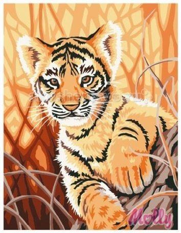 Molly Картина по номерам Любопытный тигрёнок 30х40 смКартина по номерам Любопытный тигрёнок 30х40 смКартина по номерам Molly Любопытный тигрёнок - оригинальный набор, позволяющий создать картину, благодаря поэтапной раскраске полотна.   В наборе:    холст из натурального хлопка на деревянном подрамнике (холст предварительно прогрунтован);  нейлоновые кисти разного размера 3 шт.;  акриловые краски (устойчивые к выцветанию);  крепление на стену;  акриловый лак (2 баночки).   Размер: 30 х 40 см Количество цветов: 12 Уровень сложности: трудный  Защитить готовую картину от воздействия ультрафиолетовых лучей и влаги поможет акриловый лак в наборе. Перед использованием его необходимо разбавить водой в соотношении 1:1. Лак следует наносить на краску в качестве финишного покрытия.<br>