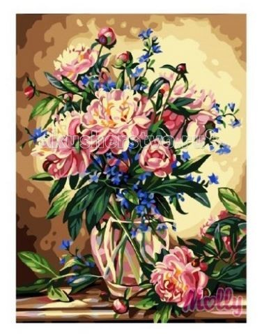 Molly Картина по номерам Букет пионов 40х50 см