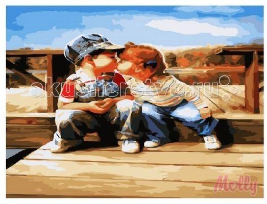 Раскраска Molly Картина по номерам Детский поцелуй 40х50 см