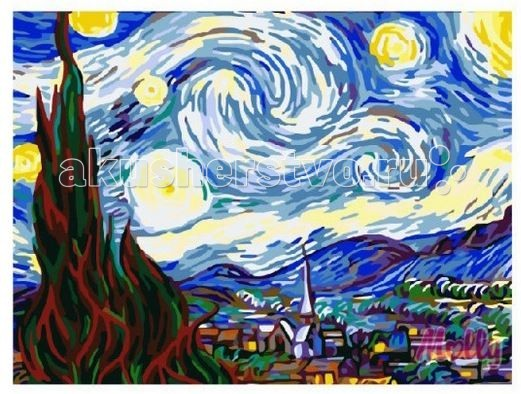 Раскраска Molly Картина по номерам Звездная ночь Ван Гог 40х50 см