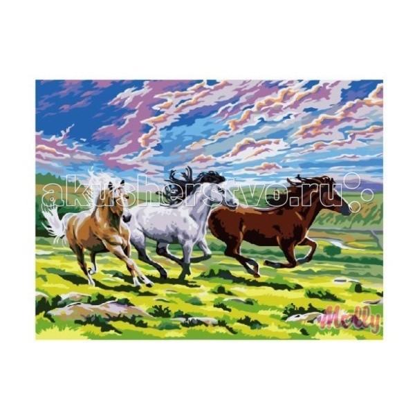 Раскраска Molly Картина по номерам Быстрее ветра 40х50 смКартина по номерам Быстрее ветра 40х50 смКартина по номерам Molly Быстрее ветра - оригинальный набор, позволяющий создать картину, благодаря поэтапной раскраске полотна.   В наборе:    холст из натурального хлопка на деревянном подрамнике (холст предварительно прогрунтован);  нейлоновые кисти разного размера 3 шт.;  акриловые краски (устойчивые к выцветанию);  крепление на стену;  акриловый лак (2 баночки).   Размер: 40 х 50 см Количество цветов: 27 Уровень сложности: средний  Защитить готовую картину от воздействия ультрафиолетовых лучей и влаги поможет акриловый лак в наборе. Перед использованием его необходимо разбавить водой в соотношении 1:1. Лак следует наносить на краску в качестве финишного покрытия.<br>