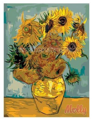 Molly Картина по номерам Подсолнухи Ван Гог 40х50 смКартина по номерам Подсолнухи Ван Гог 40х50 смКартина по номерам Molly Подсолнухи Ван Гог - оригинальный набор, позволяющий создать картину, благодаря поэтапной раскраске полотна.   В наборе:    холст из натурального хлопка на деревянном подрамнике (холст предварительно прогрунтован);  нейлоновые кисти разного размера 3 шт.;  акриловые краски (устойчивые к выцветанию);  крепление на стену;  акриловый лак (2 баночки).   Размер: 40 х 50 см Количество цветов: 24 Уровень сложности: средний  Защитить готовую картину от воздействия ультрафиолетовых лучей и влаги поможет акриловый лак в наборе. Перед использованием его необходимо разбавить водой в соотношении 1:1. Лак следует наносить на краску в качестве финишного покрытия.<br>