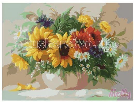 Molly Картина по номерам Полевые цветы 40х50 смКартина по номерам Полевые цветы 40х50 смКартина по номерам Molly Полевые цветы - аналог традиционной раскраски, но на холсте.  Соблюдая нумерацию отдельных сегментом картины, нужно разукрасить картину красками. Рекомендуется начинать с более светлых оттенков, постепенно переходя к более темным. Картины по номерам - интересное хобби и возможность почувствовать себя настоящим художником.    В наборе:    холст из натурального хлопка на деревянном подрамнике (холст предварительно прогрунтован);  нейлоновые кисти разного размера 3 шт.;  акриловые краски (устойчивые к выцветанию);  крепление на стену;  акриловый лак (2 баночки).   Размер: 40 х 50 см Количество цветов: 25 Уровень сложности: трудный  Защитить готовую картину от воздействия ультрафиолетовых лучей и влаги поможет акриловый лак в наборе. Перед использованием его необходимо разбавить водой в соотношении 1:1. Лак следует наносить на краску в качестве финишного покрытия.<br>