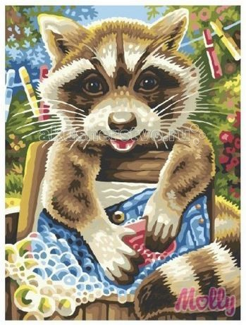 Раскраска Molly Картина по номерам Енот полоскун 40х50 см