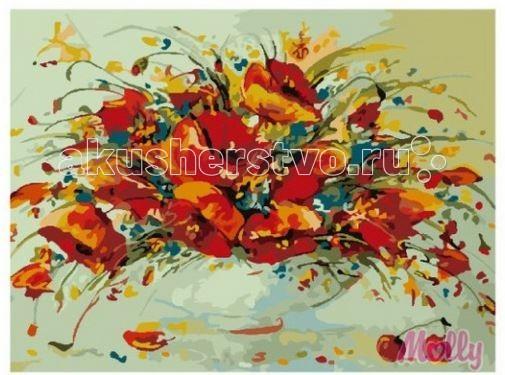 Molly Картина по номерам Полевые маки 40х50 смКартина по номерам Полевые маки 40х50 смКартина по номерам Molly Полевые маки - аналог традиционной раскраски, но на холсте.  Соблюдая нумерацию отдельных сегментом картины, нужно разукрасить картину красками. Рекомендуется начинать с более светлых оттенков, постепенно переходя к более темным. Картины по номерам - интересное хобби и возможность почувствовать себя настоящим художником.    В наборе:    холст из натурального хлопка на деревянном подрамнике (холст предварительно прогрунтован);  нейлоновые кисти разного размера 3 шт.;  акриловые краски (устойчивые к выцветанию);  крепление на стену;  акриловый лак (2 баночки).   Размер: 40 х 50 см Количество цветов: 20 Уровень сложности: трудный  Защитить готовую картину от воздействия ультрафиолетовых лучей и влаги поможет акриловый лак в наборе. Перед использованием его необходимо разбавить водой в соотношении 1:1. Лак следует наносить на краску в качестве финишного покрытия.<br>
