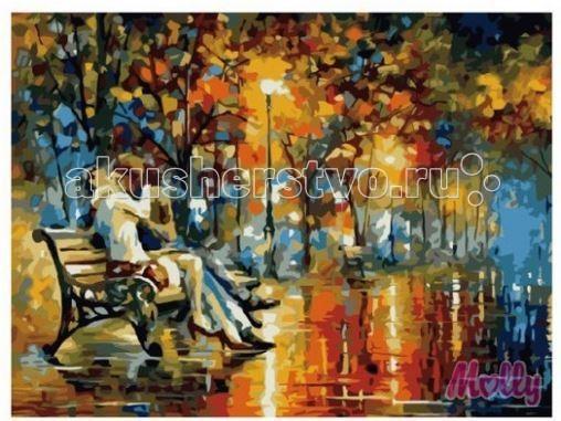 Molly Картина по номерам Осенний поцелуй 40х50 смКартина по номерам Осенний поцелуй 40х50 смКартина по номерам Molly Осенний поцелуй - аналог традиционной раскраски, но на холсте.  Соблюдая нумерацию отдельных сегментом картины, нужно разукрасить картину красками. Рекомендуется начинать с более светлых оттенков, постепенно переходя к более темным. Картины по номерам - интересное хобби и возможность почувствовать себя настоящим художником.    В наборе:    холст из натурального хлопка на деревянном подрамнике (холст предварительно прогрунтован);  нейлоновые кисти разного размера 3 шт.;  акриловые краски (устойчивые к выцветанию);  крепление на стену;  акриловый лак (2 баночки).   Размер: 40 х 50 см Количество цветов: 24 Уровень сложности: сложный  Защитить готовую картину от воздействия ультрафиолетовых лучей и влаги поможет акриловый лак в наборе. Перед использованием его необходимо разбавить водой в соотношении 1:1. Лак следует наносить на краску в качестве финишного покрытия.<br>