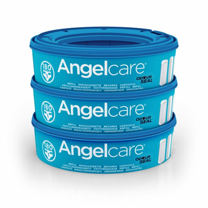 Angelcare Кассеты для накопителя подгузников AR9003-EU 9 (3 шт.)Кассеты для накопителя подгузников AR9003-EU 9 (3 шт.)Сменная кассета для накопителя подгузников AngelCare AR9003-EU. Каждая кассета рассчитана на 180 подгузников.  Кассета для накопителя подгузников AngelCare надежно защищает от нежелательных запахов: благодаря пакету с многоуровневым кислородным барьером она абсолютно герметична.  Одна кассета вмещает до 180 подгузников. В комплекте 3 сменные кассеты. Вес: 110 грамм<br>