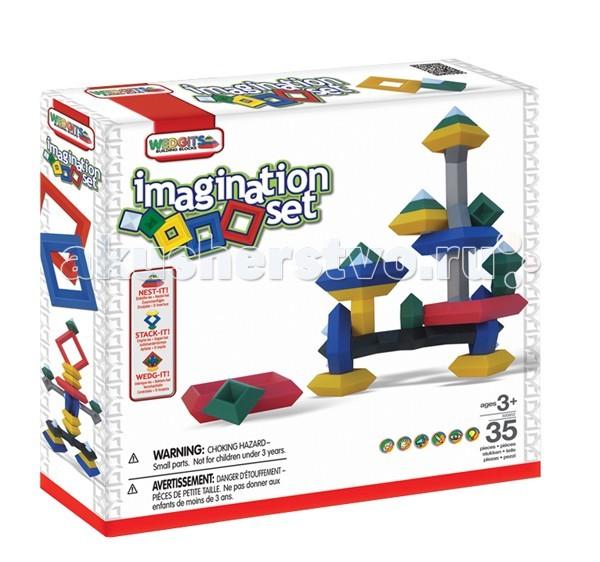 Конструктор Wedgits Imagination Set 35 деталейImagination Set 35 деталейКонструктор Wedgits Imagination Set 35 деталей - отличная игрушка не имеющая аналогов по стилю и дизайну. С помощью деталей получатся разнообразные пирамиды и конструкции из геометрических фигур, которые ребенок придумает и соберет самостоятельно.   Построить дети смогут все, что есть в подробной инструкции, либо все, что позволит фантазия: от простых абстрактных фигур до осознанных персонажей!   Это не просто увлекательный творческий процесс, но и отличное развивающее занятие, которое тренирует массу полезных интеллектуальных навыков ребенка: воображение, память, моторику рук, речь, ориентацию в трехмерном пространстве, координацию движений. Дети также могут запоминать цвета, названия и формы фигур.   В наборе 35 элементов: ромбы - 2 красных 12.5 х 12.5 см, 4 синих 10 х 10 см, 6 желтых 7.5 х 7.5 см, 8 зеленых 5 х 5 см октаэдры кристаллы - 13 малых 3 х 2.5 см расширители - 1 черный 28 х 10 см, 1 серый 31 х 10 см цветной буклет с моделями для сборки.<br>