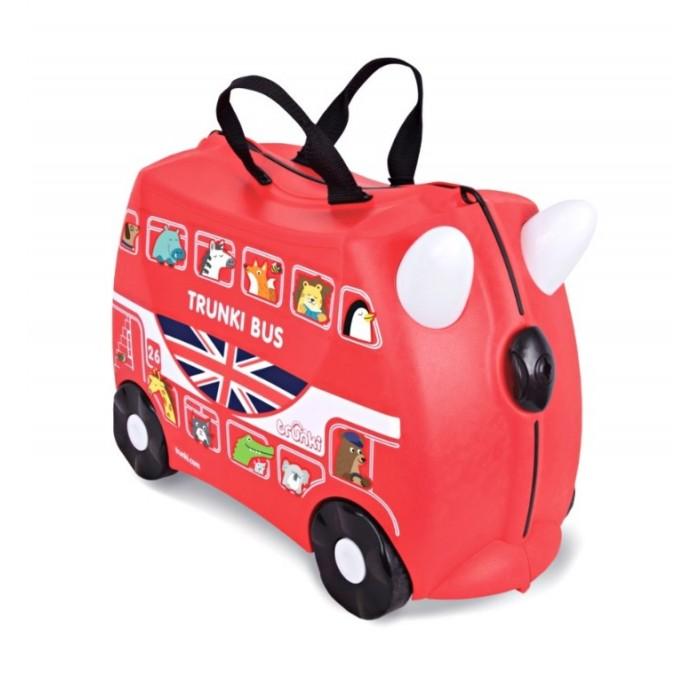 Trunki Чемодан на колесах АвтобусЧемодан на колесах АвтобусДетский чемодан Trunki Автобус - восхитительная новинка от английского производителя детских чемоданов и дорожных аксессуаров! Чемоданы Trunki сделаны из прочного легкого пластика, что позволяет не только брать их с собой в путешествие, но даже кататься на них!   Чемодан Автобус станет прекрасным игровым спутником каждого ребенка. Чемодан выполнен в ярком красном цвете. У чемоданчика есть забавные красные ручки в виде рожек, для того, чтобы ребенок мог держаться во время катания. Удобная прочная ручка из текстиля позволяет родителям возить чемодан или катать ребенка.   В комплекте с чемоданом есть комплект наклеек, с помощью которых малыш сможет рассадить забавных красочных животных в окошки автобуса, изображенные на корпусе чемодана. Таким образом, чемодан станет не только полезным и функциональным аксессуаром, но и интересным творческим набором.   Особенности чемодана Trunki Автобус:    Прочный легкий корпус с удобным сидением, Широкие устойчивые колеса для перемещения и катания, Прорезиненный мягкий обод вдоль отделений чемодана, Надежный безопасный замок защищает от случайного раскрытия, Специальный ремень с прочными карабинами позволяет легко перемещать чемодан и катать ребенка, Ручки из пластика на корпусе чемодана позволяют ребенку держаться при перемещении.  Чемоданы Trunki были созданы в Англии для того, чтобы малыши не скучали во время путешествий. В удобный вместительный чемодан можно заполнить необходимыми вещами, книгами и, конечно же, любимыми игрушками. Широкие устойчивые колеса позволяют не только перемещать чемодан, но и даже покататься на нем. Теперь при ожидании при регистрации или ожидании рейса вашему ребенку точно не будет скучно.   Вместительность: 18 литров.  Вес чемодана: 1,7 кг.  Максимальный вес нагрузки: 45 кг.<br>