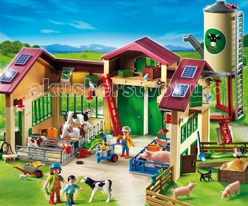 Конструктор Playmobil Ферма: Новая ферма с силосной башнейФерма: Новая ферма с силосной башнейФерма: Новая ферма с силосной башней – невероятно интересный набор с множеством аксессуаров.  Большая стройка началась на новой ферме - здесь есть силосная башня, в которой перерабатывается трава и навоз, построено жилище и загон для свиней, есть коровник, в котором уютно чувствуют себя две кормилицы-коровы, а за отдельной загородкой стоит теленок.   На чердак ведет удобная лестница и можно спать на сене.  Бычка привязывают для выпаса на лугу и носят ему воды.  В специальной загородке на улице пасутся две свинки и заглядывают в огороженный ящик с зерном.   Взяв игровые наборы Playmobil, можно построить настоящую большую выгодную ферму, в которой будут все животные сытые и чистые, за ними будут ухаживать все члены семьи.  Ребенок накормит кур, мама отнесет воды теленку и подоит корову, а папа привезет корм и рассыплет по кормушкам.  Конструкторы соберут дети, и для каждого животного будет свое отведенной место.  В набор входит постройка с открытой внутренней частью, в которой есть загоны для животных и коровник со стойлами, фигурки трех членов семьи, коровы и телята, свиньи и поросята, кошка и собака, птицы, силосная башня и фермерский инвентарь.  Набор от Playmobil знакомит с сельской жизнью и развивает трудолюбие и внимание.  Продукция сертифицирована, экологически безопасна для ребенка, использованные красители не токсичны и гипоаллергенны.<br>