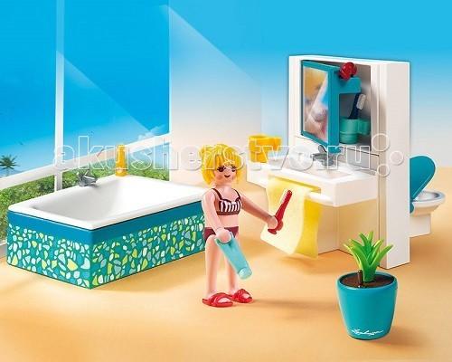 Конструктор Playmobil Особняки: Современная ванная комнатаОсобняки: Современная ванная комнатаОсобняки: Современная ванная комната.  В добротном доме должна быть своя ванная комната, интерьер которой каждая хозяйка выбирает по своему вкусу.  В ванной можно привести себя в порядок перед зеркалом, уложить волосы или сделать макияж.   Все принадлежности можно потом спрятать в выдвигающемся ящичке стола.  Игровые наборы Playmobil помогут создать интересный эпизод в игре.  Фигурка девочки в купальнике старается привести свои волосы в порядок, она держит в руке расческу и фен.   Ванная прямоугольной формы блестит чистотой, сбоку стоит шампунь.  Полотенце развешено для просушки.  На краю умывальника стоит кружка.  Сверху за открытым зеркалом открывается вместительный шкафчик.  За зеркальным столом с обратной стороны расположен туалет.  В ванной стоит горшок с красивым растением.   Конструкторы можно расставить на площадке по своему усмотрению. В набор Playmobil входит фигурка девочки, ванная, шампунь, умывальник с зеркалом, полотенце, туалет, цветочный горшок.  Игрушка учит ребенка быть чистоплотным и аккуратным, следить за своей внешностью и любить купаться, у крохи развивается любознательность, внимание, сосредоточенность на одном предмете.  Продукция сертифицирована, экологически безопасна для ребенка, использованные красители не токсичны и гипоаллергенны.<br>
