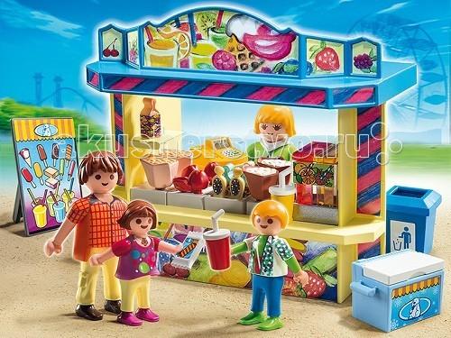 Конструктор Playmobil Парк Развлечений: Киоск со сладостямиПарк Развлечений: Киоск со сладостямиПарк Развлечений: Киоск со сладостями откроет ребенку большой простор для сюжетных игр.  Киоск со сладостями станет неотъемлемой частью парка, ведь дети с удовольствием кушают попкорн, пьют соки и газировку, наслаждаются мороженным.   На прилавке киоска представлен огромный выбор сладостей.  Продавщица быстро обслужит всех желающих кушать сладкое, она продаст то, что заказали дети и взрослые.   Сладости любят все, взрослые и дети с удовольствием рассмотрят предложенные лакомства и выберут то, что им нравится.  После еды необходимо не забыть выбросить бумаги и стаканчики в урну, расположенную рядом с киоском, чтобы вокруг было чисто.  Взяв конструкторы, можно расставить все товары по-разному.   В игровые наборы Playmobil входит киоск со всевозможными сладостями на столе, морозильник для мороженного, продавец, фигурки взрослого и двух детей, рекламный стенд. Ребенок может установить киоск при входе в парк и разложить на прилавке сладости.   Морозилку с мороженым можно поставить сбоку от ларька, а стенд с рекламой с другой стороны.  Урну лучше всего расположить так, чтобы ее видели посетители и не кидали стаканчики на землю.  Фигурки взрослого и детей можно поставить возле ларька или в стороне с уже купленными товарами. Набор Playmobil учит ребенка быть аккуратным и внимательным.  Продукция сертифицирована, экологически безопасна для ребенка, использованные красители не токсичны и гипоаллергенны.<br>