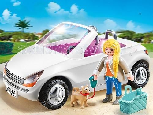 Конструктор Playmobil Особняки: Шикарный кабриолетОсобняки: Шикарный кабриолетОсобняки: Шикарный кабриолет сможет разнообразить игры ребенка.  Шикарный автомобиль с открытым верхом прокатит по берегу моря, и прохладный морской бриз будет овевать едущую в кабриолете девушку.  Любимая собачка будет сидеть в своей корзине и любоваться природой.  Машинка белого цвета рассчитана на двух пассажиров.  Девушка в модной одежде сядет за руль, а собачку в корзине поставит на соседнее сидение.   На девушке надеты синие джинсы, короткие сапожки, оранжевая кофточка и серый пиджак. Рыжая собачка будет сидеть в синей корзинке.  Внутренняя часть автомобиля обита розовой тканью.  Впереди на машине прикреплен номерной знак.  Колеса у кабриолета с резиновыми покрышками и хорошо видным рисунком протекторов.  В конструкторы входят фигурка девушки, автомобиль, собачка и корзинка. Ребенок может усадить девушку за руль, положить собачку в корзинку и поставить на соседнее сидение, после чего можно будет начать путешествие. Игровые наборы Playmobil учат ребенка быть внимательным и сосредоточенным на дороге, они развивают образное мышление и фантазию.   Продукция сертифицирована, экологически безопасна для ребенка, использованные красители не токсичны и гипоаллергенны.<br>