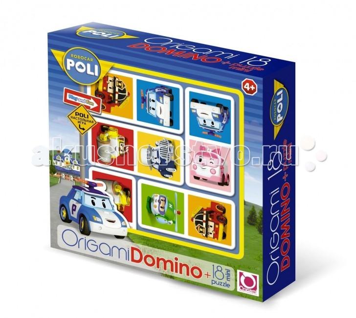 Robocar Poli Пазл ДоминоПазл ДоминоRobocar Poli Пазл Домино, созданное по мотивам мультсериала «Робокар Поли», отличается тем, что на его фишках изображены машинки-герои сериала.   Принцип игры в нем тот же, что и в обычном лото, а красочные детали с милыми персонажами сделают его привлекательным для детей.  В дополнение в наборе находится мини-пазл на 18 деталей, сборка которого, как и сама игра в домино, будет по плечу детям, начиная с 4 лет.<br>