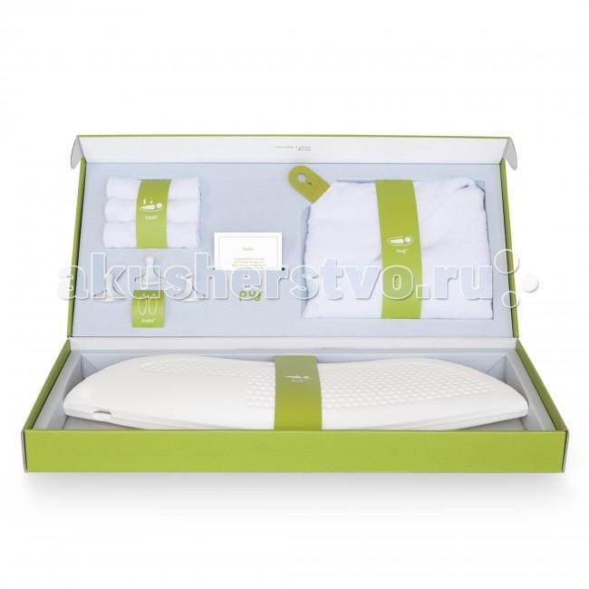 Puj Банный набор для новорожденного Puj SplashБанный набор для новорожденного Puj SplashPuj Банный набор для новорожденного Puj Splash станет отличным подарком для любого будущего родителя. В нем есть все необходимое, чтобы вымыть и вытереть малыша.  В комплекте: Компактная ванна для новорожденного - подходит для большинства раковин на пьедестале, а также для раковин с тумбой, что позволяет родителям купать ребенка в удобном положении стоя. Вам больше не придется наклоняться, стоять на коленях или перенапрягать спину. Ванна изготовлена из устойчивого к плесени материала, который не впитывает влагу и высыхает за считанные секунды. Полотенце для новорожденного с капюшоном - самое популярное полотенце, имеет две силиконовых петли, которые застегиваются на вашей шее, освобождая руки, чтобы держать ребенка. Изготовлено из очень мягкого и прочного хлопка. Можно стирать в машинке. Цепкие крючки - в наборе три крючка, которые можно использовать, чтобы повесить детскую ванну, полотенце и другие банные принадлежности. Нет необходимости в их специальной установке – они крепко держатся на стекле, металле и кафеле. Мягкие салфетки для мытья - в наборе три самых мягких салфетки для мытья, которые изготовлены из длинных волокон хлопка, что делает их невероятно мягкими и нежными для деликатной кожи малыша. Имеют идеальный для ребенка размер. Гид по купанию - в нем вы найдете советы для легкого и веселого купания малыша.<br>