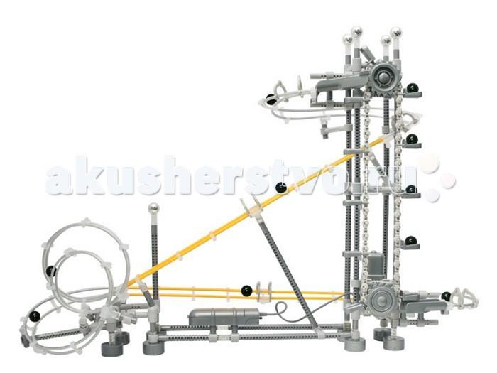 Конструктор Executivity Roller Track 350 деталейRoller Track 350 деталейКонструктор Executivity Roller Track 350 деталей - отличная игрушка нового поколения для всех возрастов, который позволяют собрать удивительную динамическую конструкцию, заставляющую несколько шариков двигаться без остановки.   В состав конструкции - входит лебедка, поднимающая шарики вверх, и рельсы, по которым шарики скатываются вниз. Рельсы можно соединять как угодно, отклоняясь от инструкции и создавая собственную индивидуальную модель.  Собирая такой конструктор, не обязательно пользоваться инструкцией. Дав волю фантазии, из шпал и металлических тросов Вы сможете соорудить свой собственный неповторимый аттракцион. Ваш ребенок, собирая его вместе с Вами или один, научится сосредотачиваться, усвоит несколько законов физики, разовьет пространственное и последовательное логическое мышление.  В наборе: 350 деталей, включая 20 шариков длина трека - 5 метров размер собранной конструкции: 42 х 19 х 39 см размер деталей: от 1.5 см до 20 см диаметр шариков: 1.5 см размер коробки: 34 х 8 х 24 см конструктор работает от 2-х батареек АА.<br>