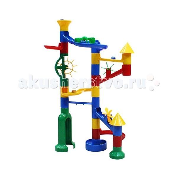 Конструктор Marbutopia Замок (Castle) 31 детальЗамок (Castle) 31 детальКонструктор Marbutopia Замок (Castle) 31 деталь - первый шаг ребенка в мир конструирования объемных лабиринтов.   Разработчики конструкторов Marbutopia создали специальную серию для самых маленьких – Primo. Она рассчитана на детей в возрасте от 3 лет и предлагает познакомиться и освоить строительство объёмных лабиринтов.   В данном наборе имеются: 31 пластиковая деталь ярких цветов (круговые и извилистые дорожки, желобки, вертикальные трубки, горизонтальная, вертикальная и две наклонные мельницы, лабиринт, а также конические детали в виде крыш башенок замка) и 8 стеклянных шариков-хамелеонов. Можно собрать объёмный извилистый лабиринт, по дорожкам которого будет спускаться шарик. Размер деталей от 1,5 до 10 см, готовая конструкция получается размером 35 х 25 см, диаметр шариков – 1,5 см.   Особенность конструктора заключается в том, что он позволяет ребенку строить бесконечные забавные лабиринты руководствуясь своей фантазией или по прилагаемой инструкции (2 варианта сборки лабиринта).  Развивающий конструктор-лабиринт Marbutopia открывает двери в увлекательный и захватывающий мир создания объёмных лабиринтов. Познавательная игрушка будет способствовать развитию мелкой моторики рук, внимательности и усидчивости, повлияет на развитие воображения и доставит настоящее удовольствие от игры.<br>