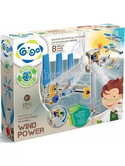 Конструктор Gigo Энергия ветра (133 детали)Энергия ветра (133 детали)Конструктор GIGO 7324 Энергия ветра / wind power.  Конструктор Gigo 7324 Энергия ветра позволяет собрать 8 моделей, которые работают на энергии ветра.Конструктор Gigo 7324 Энергия ветра предназначен специально для проведения различных экспериментов с ветрогенератором: Ветрогенераторы, 2 вида.   Ветрогенераторы двух видов с длинными и с короткими лопастями приходят в движение от ветра на улице или от вентилятора в комнате. Двигатель размещен в прозрачном корпусе -- это позволяет ребенку наблюдать за работой редуктора и его шестеренками.  Модели с электромотором, 6 видов. Мотор-редуктор с проводом обеспечивает под давлением воздуха движение моделей ветромобиля, 2 видов гоночных автомобилей, тягача, трицикла и самолета.  Всего 133 детали.В руководстве по сборке на двух языках, украинском и русском, описаны механизм возникновения ветра, шкала ветров от легкого ветра до урагана, техническое устройство ветрогенератора, а также процесс превращения энергии ветра в электрическую энергию.Все детали конструктора Gigo 7324 Энергия ветра полностью подходят к деталям из других наборов научно-познавательных конструкторов.  Ребенок может сам создать и построить много собственных моделей, освоить навыки научно-технического конструирования и понять принципы превращения энергии. Питание: 1 батарейка 1,5 В или аккумулятор 1,2 В стандарта АА в набор не входят легко вставляются в держатели для них.  В набор входят:  рамки и балки  панели зубчатые шестеренки и оси  мотор-редуктор с проводом  длинные и короткие лопасти пропеллеров  держатели батареек  зарядное устройство и прочие детали, необходимые для сборки моделей.  Комплект поставки 133 детали для сборки моделей, красочно иллюстрированная инструкция, содержащая теоретическое обоснование проделываемых действий с пошаговым описанием  Вес брутто 1.5 кг<br>