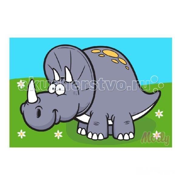 Раскраска Molly по номерам Динозавр Ярик 20х30 смпо номерам Динозавр Ярик 20х30 смРаскраска по номерам Molly Динозавр Ярик 20 см х 30 см - оригинальный набор, позволяющий создать картину, благодаря поэтапной раскраске полотна.   В наборе:    холст из натурального хлопка на деревянном подрамнике (холст предварительно прогрунтован)  нейлоновые кисти разного размера 3 шт.  акриловые краски (устойчивые к выцветанию)  крепление на стену  акриловый лак (2 баночки)  Размер: 20 х 30 см Количество цветов: 8 Уровень сложности: легкий  Защитить готовую картину от воздействия ультрафиолетовых лучей и влаги поможет акриловый лак в наборе. Перед использованием его необходимо разбавить водой в соотношении 1:1. Лак следует наносить на краску в качестве финишного покрытия.<br>