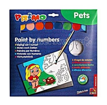 Раскраска Primo по номерам Животныепо номерам ЖивотныеНабор для раскрашивания Животные включает в себя шесть раскрасок по номерам и акварель.   Изображение разбито на нумерованные фрагменты, каждый номер соответствует определенному цвету.  Раскрашивание развивает творческие способности, формирует вкус, снимает напряжение.   Состав набора:   раскраски по номерам 6 шт. акварель 8 цв. кисть 1 шт.<br>