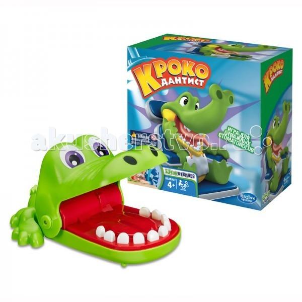Hasbro Games Игра Крокодильчик дантистGames Игра Крокодильчик дантистИгра HASBRO Крокодильчик дантист.  Кoмпaния HASBRO - вceмиpнo-извecтный пpoизвoдитeль выcoкoкaчecтвeнныx игpушeк, былa ocнoвaнa в 1923 гoду. Компания занимает второе место в мире по объему продаж игрушек и игр. Мировой лидер в производстве настольных игр и пазлов для всей семьи, игрушек для малышей, интерактивных игрушек, мягких игрушек, игровых наборов для девочек и мальчиков разного возраста.   Кoмпaния выпуcкaeт cвoи игpушки пoд тaкими извecтными бpeндaми: MB games, Playskool, MB creation, Play-Doh, Micro Machines, Transformers, Tiger, Fur Real friends, Parker Action Men и другие Лицензионные игрушки. Безопасность товаров одна из главных задач, стоящих перед компанией. Все товары проходят жесточайшую проверку и соответствуют всем европейским нормам.  HASBRO продолжает служить искусству игры, расширяя коллекцию настольных игр! У крокодила болит зуб. Но какой зуб болит - никто не знает. Нажмите на все зубы и узнайте. Но будьте осторожны крокодил боится боли и закрывает пасть. Почувствуй себя настоящим дантистом с забавной игрой HASBRO Крокодильчик дантист!  Суть игры заключается в том, что смельчакам в свою очередь необходимо нажимать на зубы Крокодильчика. Как только игрок надавит на больной зуб, то Крокодильчик сразу захлопнет пасть, что будет означать проигрыш игрока. Побеждает тот игрок, кто останется в игре и не потревожит больной зубик. Эта игра не только позволит вашим деткам весело провести время и настроиться на положительный лад, а также поможет развить реакцию и ловкость.Настольная игра Крокодильчик Дантист послужит просто отличным подарком для детей, в нее также можно играть целой компанией или в семейном кругу!  В комплект входит: механический Крокодильчик правила игры.<br>
