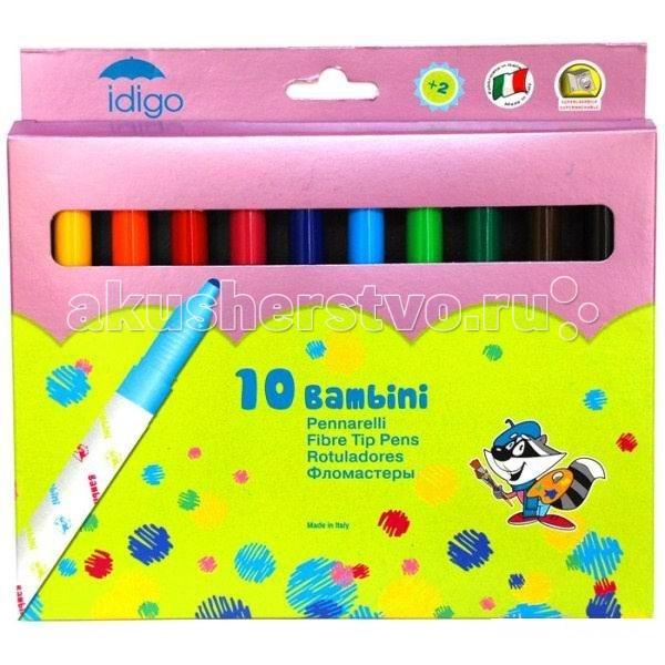 Фломастеры Idigo большие разноцветные Maxi (Bambini) 10 шт.