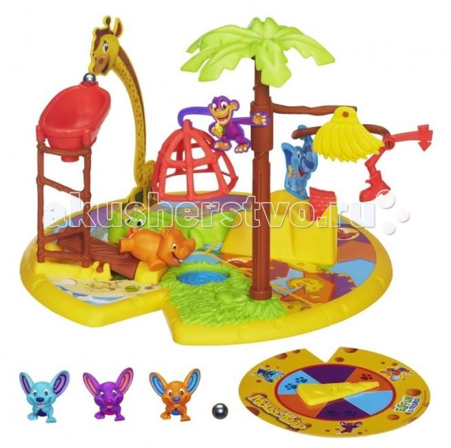 Hasbro Games МышеловкаGames МышеловкаНастольная детская игра на ловкость от компании Hasbro – отличная игра с мышками и мышеловкой. В наборе настольной игры на ловкость есть игровое поле, сделанное в виде тропического острова, на котором есть препятствие, через которые идут мышки.   Цель игры – поймать мышонка. В наборе настольной игры на ловкость есть три фигурки мышей: Сникерс, Начо, Пеппер, одна фигурка бегемота, слоник, крокодильчик, жираф, обезьянка, три части доски игровой, рулетка, сделанная в виде кусочка сыра, мышеловка, два шарика, а также подробные правила игры.  Цель игры – поймать мышонка первым, каждый игрок выбирает себе одну фигурку мышонка, ставит его на старт, рулетка сырная крутится и мышонок передвигается на игровом поле в соответствии с выпавшим цветом на рулетке. Если мышонок остановился на значке мышеловки – нарисован сыр, то это означает, что мышонок попался. Игра на ловкость для всей семьи.<br>