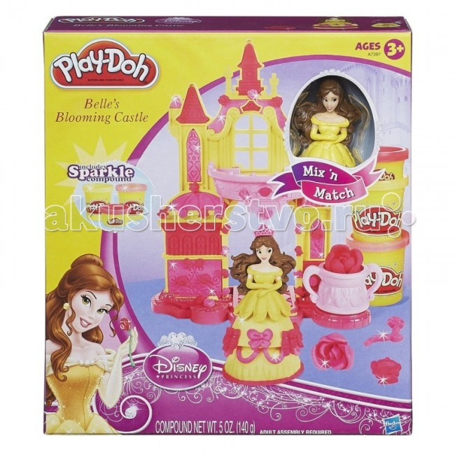 Play-Doh Hasbro Набор Замок БелльHasbro Набор Замок БелльНабор игровой - Замок Белль PLAY-DOH Hasbro A7397H.  Такой набор понравится любой малышке, которая с большим удовольствием, по своему усмотрению, украсит замок диснеевской принцессы красавицы Белль. Также украсить можно и саму фигурку принцессы.  Играя, ребёнок сможет развить творческие способности, мелкую моторику пальцев, координацию движения рук, а также мышление, внимание и память.  В комплекте: фигурка принцессы Белль замок три чашки 3 баночки с разноцветным пластилином пластиковый нож  Пластилин безопасен для детей, так как он в составе не содержит химических компонентов, а также он не прилипает к рукам, рабочей поверхности и легко отчищается, если попал на одежду.<br>