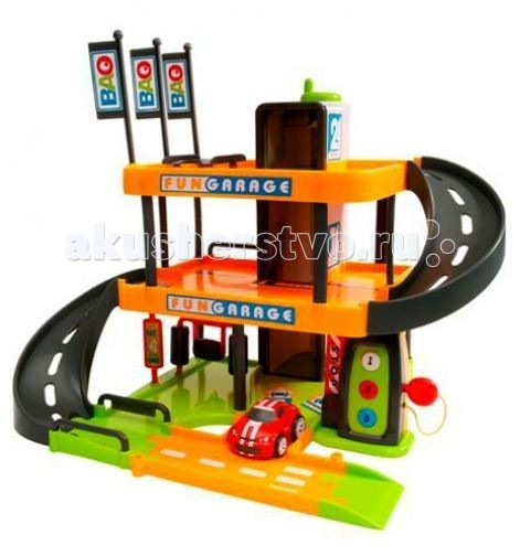Smoby Трехуровневый гаражТрехуровневый гаражТрехуровневый гараж Bao со звуковыми эффектами   Особенности:    В гараже есть все для обслуживания автомобиля - мойка, заправка.   На верхние этажи можно подняться и опуститься по эстакаде или на лифте.   Лифт - ручной (ручка управления вверху, надо покрутить).   Для работы требуются 3 батарейки типа ААА (в комплекте нет).     В наборе:    детали для сборки  детали для украшения гаража  автомобильчик   Размер автомобильчика: 8,5 х 5 х 4,5 см.<br>