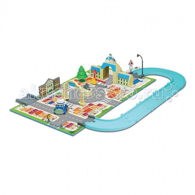 Robocar Poli Набор Город МэрияНабор Город МэрияRobocar Poli Набор Город Мэрия - это компактный переносной игровой набор по мотивам мультсериала Поли Робокар.  Особенности: Набор состоит из игрового поля (выполнено из ламинированного плотного картона), с монтируемыми на него игровыми элементами.  На игровое поле устанавливаются здания (фасады) мэрии и школы, функциональный шлагбаум.  В комплекте набора школа, мэрия, елочка, игровое поле, арки, памятник на площади, фонарный столб, два дорожных знака, крепления на игровое поле для состыковки с дорожным полотном из других наборов, шлагбаум, наклейки для оклейки зданий и 6 сантиметровая металлическая машинка Масти.  К игровому полю можно присоединить дорожное полотно, состоящее из стыкуемых между собой из пластиковых секций - в комплекте нет - приобретаются отдельно или в составе других игровых наборов.  Игровое поле в разобранном виде достаточно компактно, его удобно расположить как на полу, так и на письменном столе. Размер в разложенном виде: 54х30 см.  Для удобства хранения или транспортировки игровое поле складывается в виде закрытой книги и закрепляется специальной застежкой.  В сложенном виде его размер 24,5х30х5 см. Он так похож на книгу, что его можно поставить на книжную полку!<br>