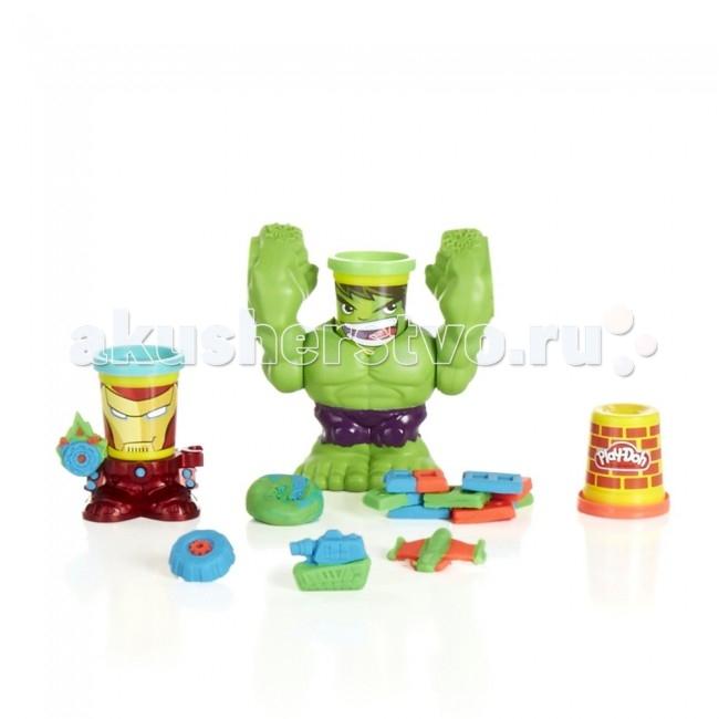 Play-Doh Hasbro Набор Битва ХалкаHasbro Набор Битва ХалкаИгровой набор с супер-героями из набора «Битва Халка» Play-Doh от американского торгового бреда Hasbro – это необычное пополнение линейки Плей До. Такой набор понравится любому ребёнку, который любит легендарных Мстителей Марвел.  Набор состоит из двух фигурок, чьи головы выполнены в виде двух баночек с пластилином, на которых изображены лица Железного Человека и Халка.  Баночки во время игры можно поставить на фигурки и придумать разнообразные игры. Фигурку Халка можно использовать в качестве штамп-пресса, а фигурку Железного человека в качестве наковальни, по которой Халк будет бить кулаками, после нажатия на голову-баночку.  В комплект вместе с двумя героями входят 3 баночки пластилина серии Play-Doh.  В наборе: база-наковальня (в виде Железного человека) для штампа штамп-пресс (в виде Халка) 3 баночки пластилина Play-Doh<br>