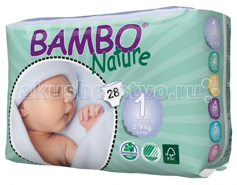 Bambo Nature Подгузники Newborn (2-4 кг) 28 шт.Подгузники Newborn (2-4 кг) 28 шт.Вес ребенка: 2-4 кг Количество в упаковке: 28 шт  Bambo Nature - это новое поколение экологичных подгузников, которые заметно выделяются среди прочих благодаря своим новым характеристикам.  Новые отличительные особенности Bambo Nature: Мягкие: Bambo Nature стали еще приятнее для тела благодаря текстильным внешним и внутренним материалам, которые дарят коже малыша такой же комфорт, как и мягкая детская одежда Тонкие: Bambo Nature стали тоньше, чем когда-либо, но, как и прежде, обеспечивают полную защиту Превосходная посадка: Bambo Nature созданы таким образом, чтобы идеально соответствовать телу малыша. Это минимизирует риск протекания и делает подгузник удобнее, обеспечивая малышу полную свободу движения.  Bambo Nature обладают и другими преимуществами: Эластичные застежки Дышащие текстильные материалы Суперабсорбент и система Top Dry, обеспечивающие быстрое впитывание и сухую поверхность.  Заботливые и ответственные родители постоянно стремятся дать своему малышу всё самое лучшее. Безусловно, это касается и выбора детских подгузников – они должны быть мягкими и удобными в использовании, надежно защищать нежную кожу и здоровье ребенка, а также идеально подходить по размеру, обеспечивая малышу абсолютный комфорт и полную свободу движения.  Кроме того, внимание к окружающей среде постоянно растет и становится все более важным для потребителей, и многие родители уже сегодня выбирают товары, которые не только заботятся об их малыше, но и сохраняют природу. Bambo Nature - одни из самых экологичных подгузников на рынке. Они созданы на производстве, способном перерабатывать 95% производственных отходов. Более того, подгузники Bambo Nature отмечены Экомаркировкой стран Скандинавии, знаком FSC (Лесной Попечительский Совет), а также прошли дерматологические исследования.  Подгузники Bambo Nature отмечены Экомаркировкой стран Скандинавии, что гарантирует Вам экологическую чистоту продукта и его со