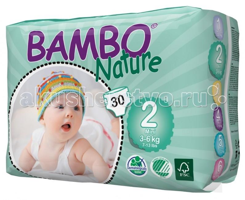 Bambo Nature Подгузники Mini (3-6 кг) 30 шт.Подгузники Mini (3-6 кг) 30 шт.Вес ребенка: 3-6 кг Количество в упаковке: 30 шт  Bambo Nature - это новое поколение экологичных подгузников, которые заметно выделяются среди прочих благодаря своим новым характеристикам.  Новые отличительные особенности Bambo Nature: Мягкие: Bambo Nature стали еще приятнее для тела благодаря текстильным внешним и внутренним материалам, которые дарят коже малыша такой же комфорт, как и мягкая детская одежда Тонкие: Bambo Nature стали тоньше, чем когда-либо, но, как и прежде, обеспечивают полную защиту Превосходная посадка: Bambo Nature созданы таким образом, чтобы идеально соответствовать телу малыша. Это минимизирует риск протекания и делает подгузник удобнее, обеспечивая малышу полную свободу движения.  Bambo Nature обладают и другими преимуществами: Эластичные застежки Дышащие текстильные материалы Суперабсорбент и система Top Dry, обеспечивающие быстрое впитывание и сухую поверхность.  Заботливые и ответственные родители постоянно стремятся дать своему малышу всё самое лучшее. Безусловно, это касается и выбора детских подгузников – они должны быть мягкими и удобными в использовании, надежно защищать нежную кожу и здоровье ребенка, а также идеально подходить по размеру, обеспечивая малышу абсолютный комфорт и полную свободу движения.  Кроме того, внимание к окружающей среде постоянно растет и становится все более важным для потребителей, и многие родители уже сегодня выбирают товары, которые не только заботятся об их малыше, но и сохраняют природу. Bambo Nature - одни из самых экологичных подгузников на рынке. Они созданы на производстве, способном перерабатывать 95% производственных отходов. Более того, подгузники Bambo Nature отмечены Экомаркировкой стран Скандинавии, знаком FSC (Лесной Попечительский Совет), а также прошли дерматологические исследования.  Подгузники Bambo Nature отмечены Экомаркировкой стран Скандинавии, что гарантирует Вам экологическую чистоту продукта и его соответс