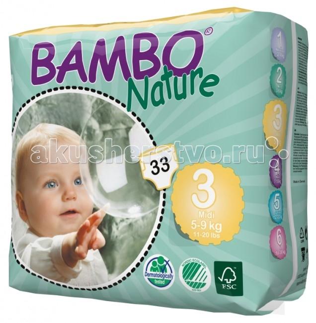 Bambo Nature Подгузники Midi (5-9 кг) 33 шт.Подгузники Midi (5-9 кг) 33 шт.Вес ребенка: 5-9 кг Количество в упаковке: 33 шт  Bambo Nature - это новое поколение экологичных подгузников, которые заметно выделяются среди прочих благодаря своим новым характеристикам.  Новые отличительные особенности Bambo Nature: Мягкие: Bambo Nature стали еще приятнее для тела благодаря текстильным внешним и внутренним материалам, которые дарят коже малыша такой же комфорт, как и мягкая детская одежда Тонкие: Bambo Nature стали тоньше, чем когда-либо, но, как и прежде, обеспечивают полную защиту Превосходная посадка: Bambo Nature созданы таким образом, чтобы идеально соответствовать телу малыша. Это минимизирует риск протекания и делает подгузник удобнее, обеспечивая малышу полную свободу движения.  Bambo Nature обладают и другими преимуществами: Эластичные застежки Дышащие текстильные материалы Суперабсорбент и система Top Dry, обеспечивающие быстрое впитывание и сухую поверхность.  Заботливые и ответственные родители постоянно стремятся дать своему малышу всё самое лучшее. Безусловно, это касается и выбора детских подгузников – они должны быть мягкими и удобными в использовании, надежно защищать нежную кожу и здоровье ребенка, а также идеально подходить по размеру, обеспечивая малышу абсолютный комфорт и полную свободу движения.  Кроме того, внимание к окружающей среде постоянно растет и становится все более важным для потребителей, и многие родители уже сегодня выбирают товары, которые не только заботятся об их малыше, но и сохраняют природу. Bambo Nature - одни из самых экологичных подгузников на рынке. Они созданы на производстве, способном перерабатывать 95% производственных отходов. Более того, подгузники Bambo Nature отмечены Экомаркировкой стран Скандинавии, знаком FSC (Лесной Попечительский Совет), а также прошли дерматологические исследования.  Подгузники Bambo Nature отмечены Экомаркировкой стран Скандинавии, что гарантирует Вам экологическую чистоту продукта и его соответс