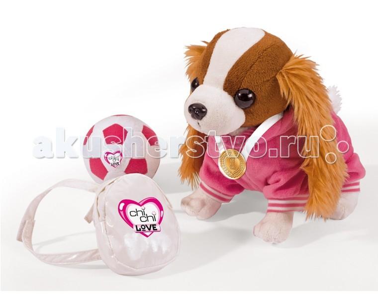 Мягкая игрушка Chi-Chi Love собачка Кокер-спаниельсобачка Кокер-спаниельПлюшевая собачка Chi-Chi Love Кокер-спаниель с рюкзаком, медалью и мячиком  Вы только посмотрите на этого милого и забавного кокер-спаниеля в розовом спортивном костюмчике! Он мечтает обрести заботливую и любящую хозяйку, вместе с которой будет заниматься спортом.  Больше всего наш кокер-спаниель любит игры с мячом. Он может играть в футбол или волейбол целыми днями напролет. У него даже есть золотая медаль, честно заработанная за победу в футбольном матче. Лапки собачки сгибаются как у настоящего животного, поэтому ему можно придать любую позу.  В комплекте с кокер-спаниелем идет качественный белый рюкзачок на молнии. С помощью фиксируемых лямок, этот рюкзак можно одеть на собачку, а внутрь спрятать резиночки для волос, маленькие игрушки, сменную одежку для своей любимицы и прочую мелочь.   Размер: 20см  Вес в упаковке (кг):  0,608<br>