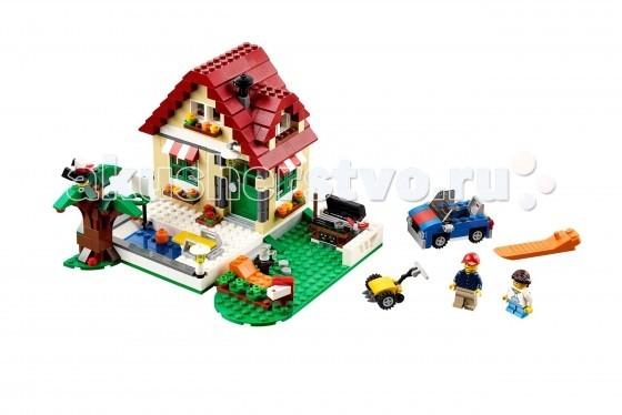 Конструктор Lego Creator 31038 Лего Времена годаCreator 31038 Лего Времена годаКонструктор Lego Creator Времена года - выполнен в виде двухэтажной постройки с бежевыми стенами, зелёными окошками, красной крышей и печной трубой. Конструкция дома распашная, что позволяет детально рассмотреть интерьер.  Построй летний домик, состоящий из двух этажей. Рядом с домом удобно размещаются предметы необходимые для пикника, небольшой бассейн для плавания, а так же инвентарь для уборки территории. А когда захочется чего-то нового, построй зимний домик, который идеально подходит, для проведения зимних вечеров за чашечкой горячего чая, после увлекательных прогулок на улице, например лепки снеговика всей семьей.  Внутри Вы найдёте стол с лампой, стул, софу и лестницу. Под раскидистым деревом установлен мангал, столик и шезлонг для отдыха. Также в наборе Вы найдёте светящийся кирпичик, который можно использовать в строительстве мангала или камина, 2 минифигурки с аксессуарами и детали для создания почтового ящика, газонокосилки и спортивного кабриолета. При желании летний домик можно переделать в зимнее шале или осенний коттедж.  Размер дома в собранном виде составляет 14&#215;19&#215;19 см.  Количество деталей: 536<br>