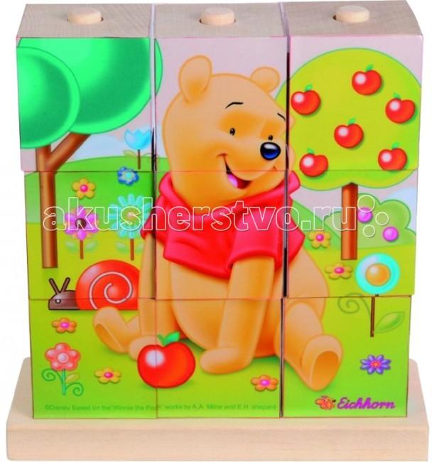 Деревянная игрушка Eichhorn Пазл-коробка Винни ПухПазл-коробка Винни ПухПазл-коробка Eichhorn Винни Пух   Играя с этим пазлом из кубиков, ваш малыш научиться собирать классическую головоломку. На кубиках нанесены картинки с изображением любимых героев из мультфильма Винни Пух  В составе набора: подставка с 3-мя штырьками, на которую надеваются кубики. Количество кубиков: 9.  Расположите все девять кубов в правильном порядке на три стержня и получится великолепное изображение Винни-Пуха или его друзей.<br>