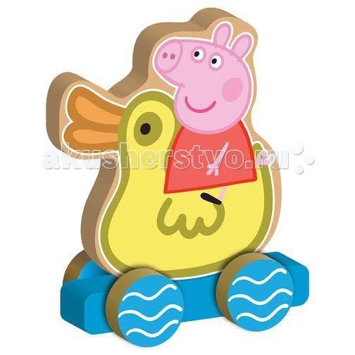 Каталка-игрушка Peppa Pig Каталка Пеппа на уточкеКаталка Пеппа на уточкеУзнаваемый персонаж забавного мультфильма может поселиться у вас дома. Игровой набор Каталка Пеппа на уточке бренда Peppa Pig — красивая игрушка-каталка из дерева, качественная и сертифицированная. Вы можете быть уверены в её прочности, долговечности и безопасности для ребенка.  Свинка Пеппа взобралась на спину желтому утенку и хочет покататься. Помогите ей совершить свое путешествие, потянув за шнурок или держась за верх игрушки. Пеппа Пиг покатится следом на своих четырех колесиках.   Яркая окраска и оригинальный персонаж Peppa Pig вызовет восторг у малышей. В процессе игры с Каталкой Пеппа на уточке можно не только развлечься, но и выучить имя своей любимицы на английском языке.   Игрушка предназначена для детей раннего возраста, её размер 12х15х2см.<br>