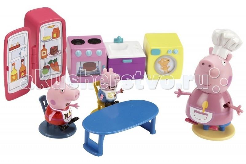 Peppa Pig Кухня ПеппыКухня ПеппыЛюбая хозяюшка любит угощать своих домочадцев вкусными блюдами, булочками и пирогами. Любимица свинка Пеппа устроилась на кухне и готова впустить в свой мир вашу девочку - они вместе приготовят еду, накормят кукол и выпоют за собой посуду. Игровой набор Кухня Пеппы от Peppa Pig предназначен для девочек от 3 лет и старше.  Ключевые особенности набора для девочек Кухня Пеппы: Холодильник, плита, мойка и даже стиральная машинка - разнообразие игровых аксессуаров позволяет вашей девочке найти подходящий вариант игрового процесса.  Обеденный стол Peppa Pig помогает познать секреты сервировки, а на стульях удобно усядутся фигурки семьи Пеппы. Пеппа и Джордж готовы к приему пищи, они ждут, когда мама позовет их обедать.  Комплектация игрового набора Кухня Пеппы: мебель бытовая техника 3 минифигурки<br>