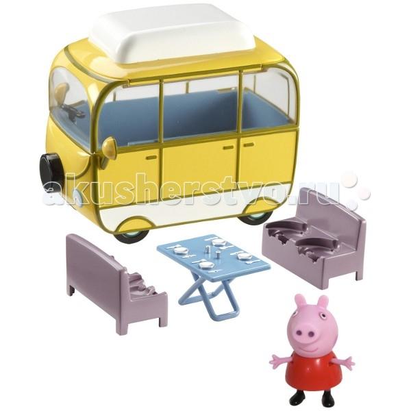 Peppa Pig Игровой набор Веселый кемпингИгровой набор Веселый кемпингИгровой набор Peppa Pig под названием Веселый кемпинг помогает малышкам воспроизводить сюжеты из мультсериала Свинка Пеппа, возить любимые фигурки на пикник, жарить шашлыки на мангале и отдыхать на природе дружной семьей хрюшек.  Ярко-желтый трейлер Peppa Pig со съемными диванчиками вместительный, может перевозить все семейство Пеппы. В комплекте имеются столовые приборы и посуда - накрыть на стол и поучиться правилам сервировки. Фигурка Пеппи имеет подвижные лапки, одета в красное платьице. К дочкиной компании можно приобрести фигурки папы, мамы и сыночка.   Комплектация игры Веселый кемпинг от Peppa Pig: открытый фургон с сиденьями для семьи Пеппы столик для пикника столовые приборы и посуда минифигурка Свинки Пеппа - 5 см<br>