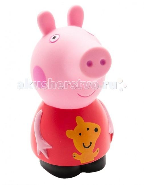 Peppa Pig Игрушка для купания Пеппа 10 смИгрушка для купания Пеппа 10 смДетишки обожают мультфильм «Свинка Пеппа», поэтому пластизоль «Пеппа» (10 см) с забавным медвежонком на платьице придется по душе любому из них.   С резиновой фигуркой малыш может увлеченно играть и дома, и на улице, и даже в ванне.   Ее яркая окраска улучшает цветовосприятие малютки, а приятная на ощупь поверхность развивает тактильные ощущения. Товар сертифицирован.<br>