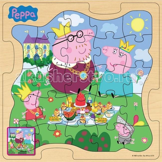 Peppa Pig Пазл 30х30 Королевская семья 24 деталиПазл 30х30 Королевская семья 24 деталиДеревянный пазл с изображением очаровательной свинки Пеппа из одноименного мультфильма — это прекрасный выбор для родителей, которые хотят привлечь внимание малыша игрушкой. Любимый герой обязательно вызовет интерес у крохи, а процесс сбора пазла захватит его целиком!  В комплект входит деревянная рамка и 24 детали. Рисунок довольно простой, с крупными изображениями персонажей, поэтому собрать его не вызовет особого труда у ребенка.   Головоломка выполнена из естественного органического материала, а это значит, что совершенно безопасна для здоровья малышей. Процесс сбора пазла способствует развитию мелкой моторики детских ручек, а также тренирует логическое мышление.  Количество деталей: 24 шт.<br>