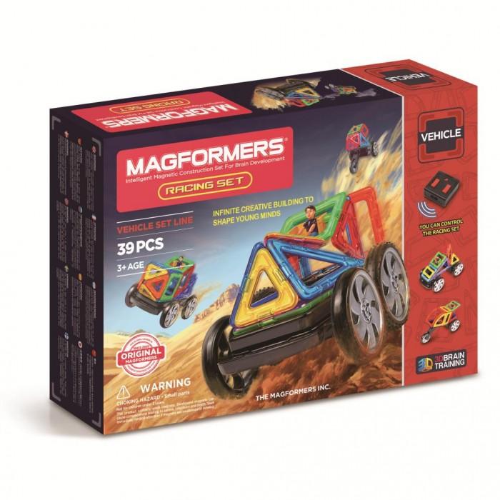 Конструктор Magformers Магнитный Racing setМагнитный Racing setМагнитный конструктор Magformers 63131 Racing set.  Магнитный конструктор Magformers относится к категории лучших развивающих игрушек для малышей и детей постарше. Это необыкновенный конструктор, который ценится своим многообразием и качеством материала. Детали магнитного конструктора Magformers сделаны из высококачественного пластика, который является абсолютно безопасным даже для самых маленьких строителей. С каждой стороны фигуры магнитного конструктора Magformers внутри есть специальный магнит, благодаря которому детали конструктора могут с легкостью соединяться между собой. Держатся детали довольно крепко, созданную конструкцию можно поднять за верхушку.  Magformers лучшая трехмерная игрушка для развития воображения, пространственного мышления и общих мыслительных способностей. Дети могут превращать плоские предметы в объёмные, изучать принципы магнетизма.Уникальный конструктор Magformers Racing set позволяет построить модели машин на дистанционном радиоуправлении! Из деталей набора Magformers можно построить не только различные машинки, но и мотоциклы.  В этот великолепный набор входит большое количество стандартных элементов Magformers, а также новые детали: супер арка, супер сектор и супер прямоугольник. Кроме того, в набор входят различные виды колес, среди которых есть редкое мотоциклетное колесо. Все собранные модели Magformers приобретут жизнь в движении, ведь собрав машинку, Ваш ребенок с удовольствием будет управлять ей с помощью дистанционного пульта управления.  Конструктор Magformers Racing set идеален как для расширения уже существующей коллекции Magformers, так и для первого конструктора Magformers. Все детали этого набора совместимы с другими наборами Magformers, что позволяет делать очень интересные комбинации.Играя с конструктором, Вы можете заниматься с малышом и развивать его в процессе игры, благодаря разноцветным деталям изучать цвета, рассказывать о геометрических формах, нагля