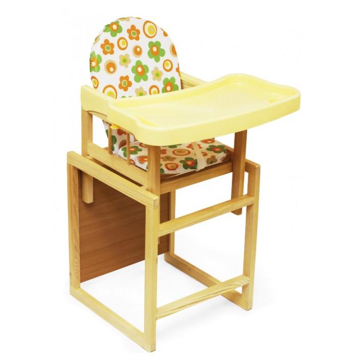 Стульчик для кормления Globex Мишутка с пластиковым столомМишутка с пластиковым столомДетский комбинированный стул-стол Мишутка предназначен для детей в возрасте от 6 месяцев до 3 лет. Стульчик Мишутка можно использовать как низкий стул со столиком, так и как высокий стульчик для кормления, для этого установите маленький стульчик в столик.   Стул выполнен из натурального дерева.  Поднос имеет высокие борта, легко снимается одной рукой и имеет три положения.  Уровень подноса соответствует уровню стандартного кухонного стола.  Упоры от заднего опрокидывания обеспечивают безопасность ребенку при резком отклонении назад.  РЕКОМЕНДАЦИИ ПО ЭКСПЛУАТАЦИИ   Эксплуатировать при температуре от +3 до +40 градусов.  Загрязненные детали изделия рекомендуется протирать мягкой, слегка влажной салфеткой.  Применение растворителей не допускается!  Никогда не ставьте ребенка ножками на сиденье.  Обязательно устанавливайте стул-стол на ровной, устойчивой поверхности. Качание не допускается!  Не оставляйте ребенка без присмотра при высоком положении стула.  Периодически проверяйте крепление винтов.<br>