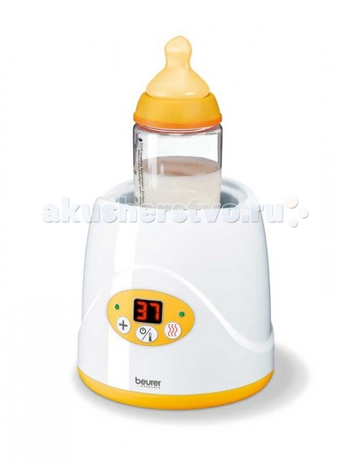 Beurer Нагреватель для детских бутылочек BY52Нагреватель для детских бутылочек BY52Универсальный подогреватель обеспечивает быстрый и щадящий разогрев детского питания. Функция поддержания равномерной температуры 35°C - 85°C. Цифровой светодиодный дисплей времени нагревания и температуры. Подходит для всех обычных бутылочек и стаканчиков. Специальный лифт позволяет легко и быстро извлечь бутылочку.   Особенности: 2 в 1: нагрев и поддержание температуры детского питания Время разогрева в зависимости от типа питания 3-18 мин. Поддержание равномерной температуры в диапазоне 35°C - 85°C Цифровой светодиодный дисплей установки времени нагревания и контроля температуры Светодиодный контрольный индикатор режима работы Специальный подъемник для удобного извлечения бутылочки Принадлежности можно мыть в посудомоечной машине   Технические характеристики:  Источник питания: 220 В Мощность: 80 Вт Размеры изделия: ~ 14 x 14 х 13,75 см  Вес в упаковке: ~ 0,77 кг  Производитель:Beurer GmbH , Германия<br>