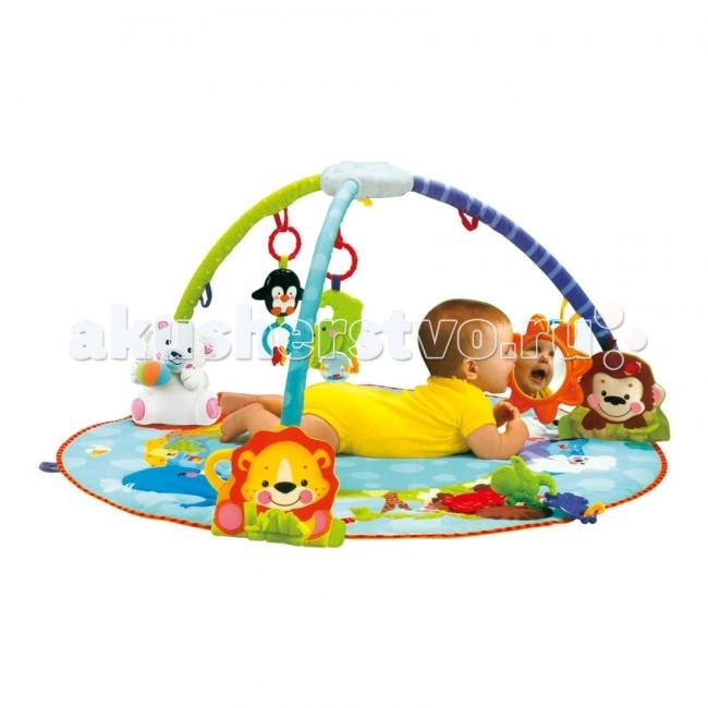 Развивающий коврик Bertoni (Lorelli) музыкальный Люксмузыкальный ЛюксКонструкция легко собирается и переносится.   Яркий развивающий коврик  Выполнен из разных по фактуре материалов Внутрь вшита пищалка В комплект входят съемные дуги и занимательные игрушки с погремушками Игрушки могут использоваться отдельно как погремушки, прорезыватели и мягкие игрушки Развивает тактильное, звуковое и цветовое восприятия, координацию движений и мелкую моторику рук с самого рождения Материал: полиэстер - 67%, хлопок - 33%  Упаковка - картонная коробка.  Размеры: 100х100 см.<br>